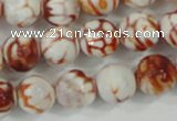 CAA723 15.5 inches 14mm faceted round fire crackle agate beads