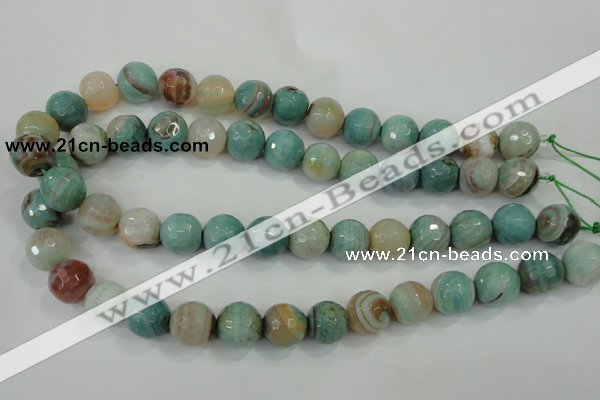 CAA725 15.5 inches 14mm faceted round fire crackle agate beads