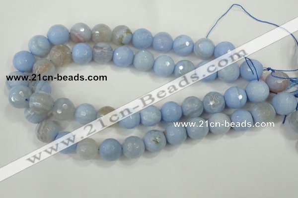 CAA740 15.5 inches 16mm faceted round blue lace agate beads wholesale