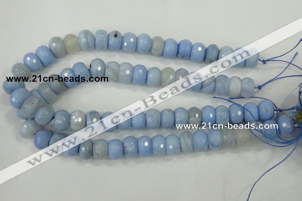 CAA742 15.5 inches 10*14mm faceted rondelle blue lace agate beads