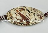 CAA761 15.5 inches 21*40mm twisted oval wooden agate beads