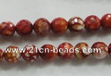 CAA794 15.5 inches 8mm faceted round fire crackle agate beads