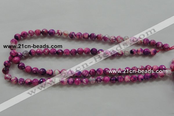 CAA795 15.5 inches 8mm faceted round fire crackle agate beads