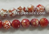 CAA799 15.5 inches 10mm faceted round fire crackle agate beads