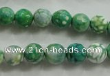CAA800 15.5 inches 10mm faceted round fire crackle agate beads