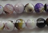 CAA804 15.5 inches 12mm faceted round fire crackle agate beads