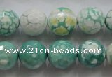 CAA805 15.5 inches 14mm faceted round fire crackle agate beads