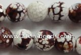 CAA806 15.5 inches 14mm faceted round fire crackle agate beads