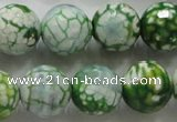 CAA810 15.5 inches 16mm faceted round fire crackle agate beads