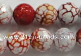 CAA811 15.5 inches 16mm faceted round fire crackle agate beads