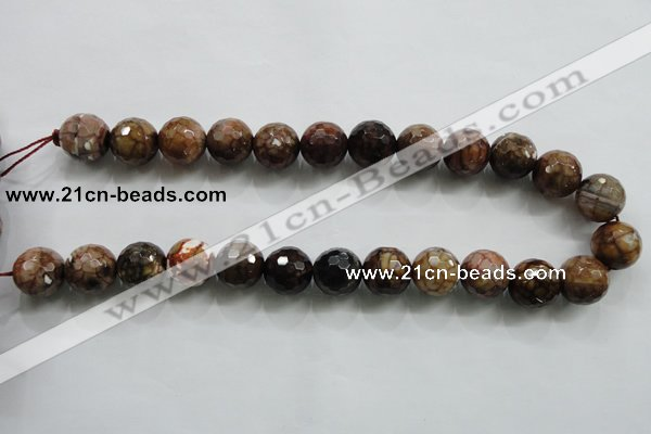 CAA813 15.5 inches 16mm faceted round fire crackle agate beads