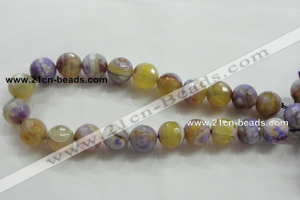CAA819 15.5 inches 18mm faceted round fire crackle agate beads