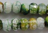 CAA827 15.5 inches 10*14mm faceted rondelle fire crackle agate beads