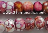 CAA831 15.5 inches 12*16mm faceted rondelle fire crackle agate beads