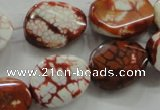 CAA836 15.5 inches 15*20mm twisted oval fire crackle agate beads