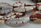 CAA838 15.5 inches 16*28mm twisted oval fire crackle agate beads