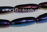 CAA858 15.5 inches 9*27mm rice AB-color black agate beads