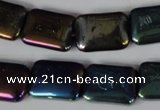 CAA861 15.5 inches 13*18mm rectangle AB-color black agate beads