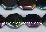 CAA862 15.5 inches 18*20mm octagonal AB-color black agate beads