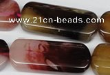 CAA909 15.5 inches 18*43mm rectangle agate gemstone beads wholesale