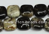 CAA952 15.5 inches 16*16mm square natural fossil wood agate beads