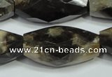 CAA971 16*30mm faceted rice natural fossil wood agate beads