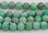 CAB07 15.5 inches 8mm faceted round green grass agate gemstone beads