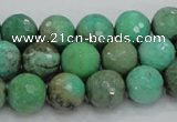 CAB09 15.5 inches 12mm faceted round green grass agate gemstone beads
