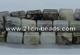CAB132 15.5 inches 8*10mm column bamboo leaf agate beads