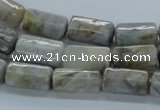 CAB134 15.5 inches 8*16mm faceted column bamboo leaf agate beads