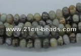 CAB141 15.5 inches 4*6mm rondelle bamboo leaf agate beads