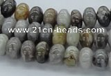 CAB142 15.5 inches 6*10mm rondelle bamboo leaf agate beads