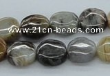 CAB147 15.5 inches 14mm flat round bamboo leaf agate beads