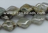 CAB154 15.5 inches 12*12mm diamond bamboo leaf agate beads