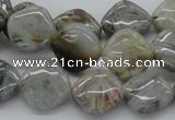CAB155 15.5 inches 14*14mm diamond bamboo leaf agate beads