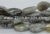 CAB159 15.5 inches 10*15mm flat teardrop bamboo leaf agate beads