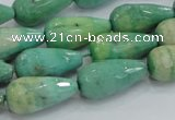 CAB16 15.5 inches 10*20mm faceted teardrop green grass agate beads