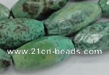 CAB21 15.5 inches 14*30mm faceted rice green grass agate beads