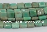 CAB26 15.5 inches 8*8mm square green grass agate gemstone beads