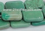 CAB29 15.5 inches 18*25mm rectangle green grass agate gemstone beads