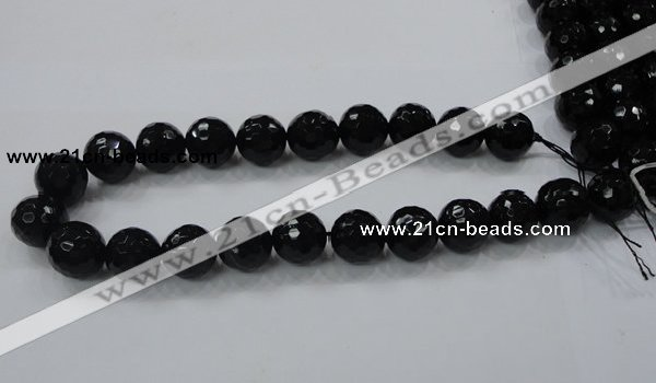 CAB345 15.5 inches 14mm faceted round black agate gemstone beads