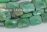 CAB36 15.5 inches 10*14mm faceted rectangle green grass agate beads
