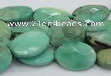 CAB39 15.5 inches 13*18mm faceted oval green grass agate beads