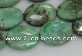CAB40 15.5 inches 15*20mm faceted oval green grass agate beads