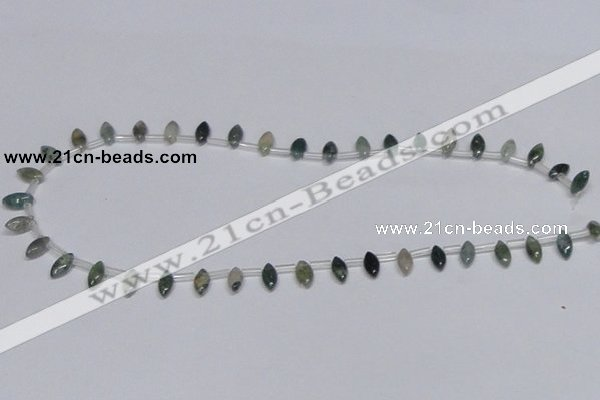CAB411 15.5 inches 5*10mm horse eye moss agate gemstone beads