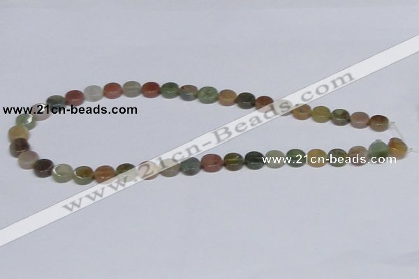 CAB455 15.5 inches 10mm coin indian agate gemstone beads wholesale