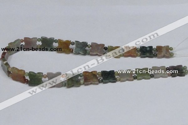 CAB470 15.5 inches flower & round double-drilled indian agate beads