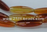 CAB482 15.5 inches 8*30mm faceted rice red agate beads wholesale