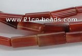 CAB486 15.5 inches 8*16mm flat tube red agate beads wholesale
