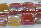CAB539 15.5 inches 15*15mm square AB-color red agate beads wholesale